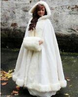 Long Bridal Cloak Faux fur Shawl White/ivory Cape Winter Hooded Wedding Coat