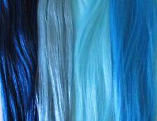 BLUE 4 Colour Sample Pack/Multipack of Saran & Nylon Doll Hair