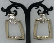 Crystal Dangle Earrings BLING Shiny Textured Crystal Diamantes Gold Tone NEW