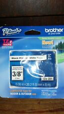 """BROTHER P TOUCH TZE-221 3/8"""" BLACK ON WHITE TAPE"""