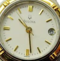 Woman Watch Bulova McCain Swiss SilverT GoldT Date Analog WR Quartz New Battery