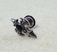 Piercing orecchino Spada Croce acciaio antichizzato con pietra nera unisex