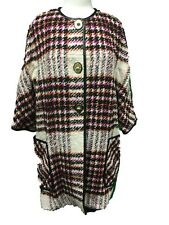 Coach 83103 Women's Plaid Boucle Bonnie Archive Coat Turnlock Leather Trim Small