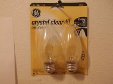 G.E. LIGHTING 90886 40 WATT CRYSTAL CLEAR BLUNT TOP BULB..CEILING FAN USE..2 PAC