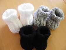 3er Set Babyschuhe Frühchen Neugeborene weiß schwarz Gr. 50