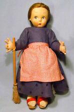 "Vintage Lenci Italy 12"" Felt Girl Doll Holding Broom with Original Paper Label"