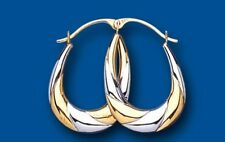 Hoop Earrings Gold Creole Oval Two Colour Yellow and White gold Hoops