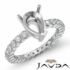 Diamond Engagement Eternity Style Ring Pear Semi Mount 18k White Gold 0.80Ct