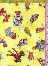 SSI Yellow Circus Animal Critter Carnival 100% Cotton Fabric BTQY off bolt