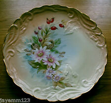 "LIMOGES CABINET PLATE SIGNED HANDPAINTED PINK BLUSH LARGE VINTAGE 12"" BEAUTIFUL"