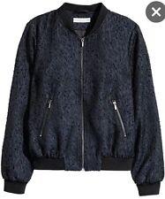 NEW NWT Women's H&M Patterned Bomber Zipper Jacket Blue SZ 2+Zipper Pockets