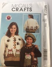 McCall's Pattern M5018 Size OSZ Adult & Child Kitty Appliqué