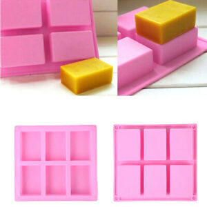6 Cavity Silicone Rectangle Soap Bar Mould Homemade DIY Cake Making Mold Craft