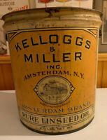 Vintage Antique Kellogg's & Miller Linseed Oil Large 37 LB Can Pail Amsterdam NY