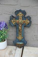 Religious antique 19thc French crucifix cloisonne enamel Cross rare velvet