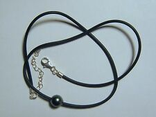 10-11mm Single Baroque Tahitian Pearl Leather Necklace w/Sterling Silver Clasp