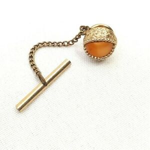 Vtg Mid Century Tie Tack Pin W/ Chain Oracle Eye Shaped Round Yellow Stone