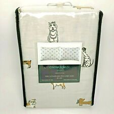 Dog Lovers Pillow Cases Cynthia Rowley 2 Standard Pillowcases 100% Cotton Gray
