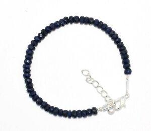 """Genuine """"Blue Sapphire Corundum"""" Gemstone 3-4 MM Rondelle Faceted 7"""" Bracelet./"""