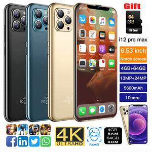 """i12 Pro max 6.53"""" Face ID Smartphone Android10 4+64GB 5600mah Phone Nice Gift"""