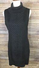 AB Studio XL Sweater Tunic Sleeveless Dress Side Slits Turtleneck