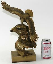 Bronzed Eagle Sculpture Landing Figurine Cold Cast Bronze Head Classic Artwork
