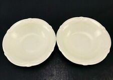 Set of 2 Gien ROCAILLE Soup Cereal Bowls Ivory Embossed Made in FRANCE