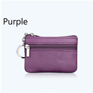 PU Leather Coin Purse Credit Card Holder Zipper Mini Wallet Pouch With Keychain