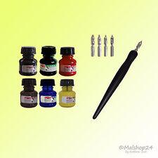 Kalligraphie-Set:1 Federhalter+5 Federn+6 Farben Zeichen-Tusche (farbig+schwarz)