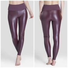Assets by Spanx Women's All Over Faux Leather Leggings - Wineberry