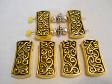 10 - 2 HOLES ANTIQUE GOLD PLATED DESIGNER STYLE RECTANGLE SLIDER SPACER BEAD BAR