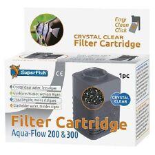 Superfish Aqua Flujo 200 & 300 cartucho de filtro de cristal claro de Carbono & Zeolita