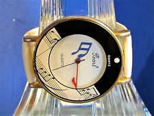 Ladies Rare Vintage Pearl Music Note Watch Hands Are Musical Notes Speidel Band