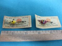 Vintage set of two Glen Evans fishing lures on cards, interchangeable weights