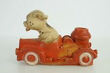 Collectible Dog Toy Chew Vintage Rubber Firetruck with Dog Dalmatian Driver