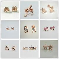 Shiny Rose Gold PL Cute Stud Earrings Women Girl Xmas Birthday Gift Many Design