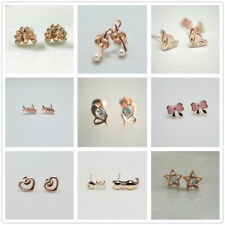 Shiny Rose Gold PL Cute Stud Earrings Women Girl Xmas Birthday Gift Many Design