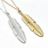 Women Feather Pendant Long Chain Necklace Sweater Statement Vintage Jewelry Gift