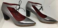 SHOES OF PREY Silver Gray Leather Women's Heels (Sz 8m)