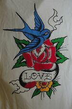 Ed Hardy Love Bird and Rose Tattoo T-Shirt Large L White Cap Sleeves