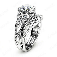 2.25 TCW Diamond 14k White Gold Finish Celtic Bridal Set Engagement Ring