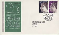 GB Stamps First Day Cover Royal Silver Wedding, SHS Scroll pattern 1972