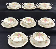 set of 8 Minton Cream Soup Bowl Cup & Saucers Lorraine England