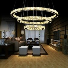 Modern 3 Ring K9 Crystal LED Light Ceiling Pendant Lamp Fixture DIY Chandelier
