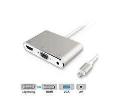 Adaptador Ligntning a HDMI VGA AUDIO AV Convertidor Plug and Play Iphone Ipad HD