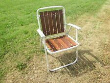 RETRO ALUMINUM FOLDING LAWN CHAIR, REDWOOD SEAT / BACK