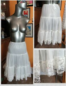 Darling Lace Trimmed Vintage 1950's KORO Sheer Petticoat - Sz Med - USA