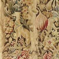 Floral fabric Printed linen vintage Shabby chic RARE dog floral pattern Jacobean