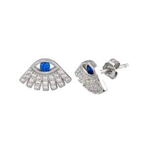 EVIL EYE STUD EARRINGS W/ LAB DIAMONDS & SAPPHIRE / 925 STERLING SILVER / NEW!!!