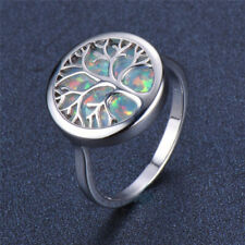 Women's Silver life Tree imitation Opal Gemstone Wedding Jewelry Ring Size 6